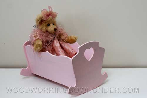 Doll cradle plans free download with instructions.  Version 1 is 13 inches long, and version 2 is almost 24 inches long.