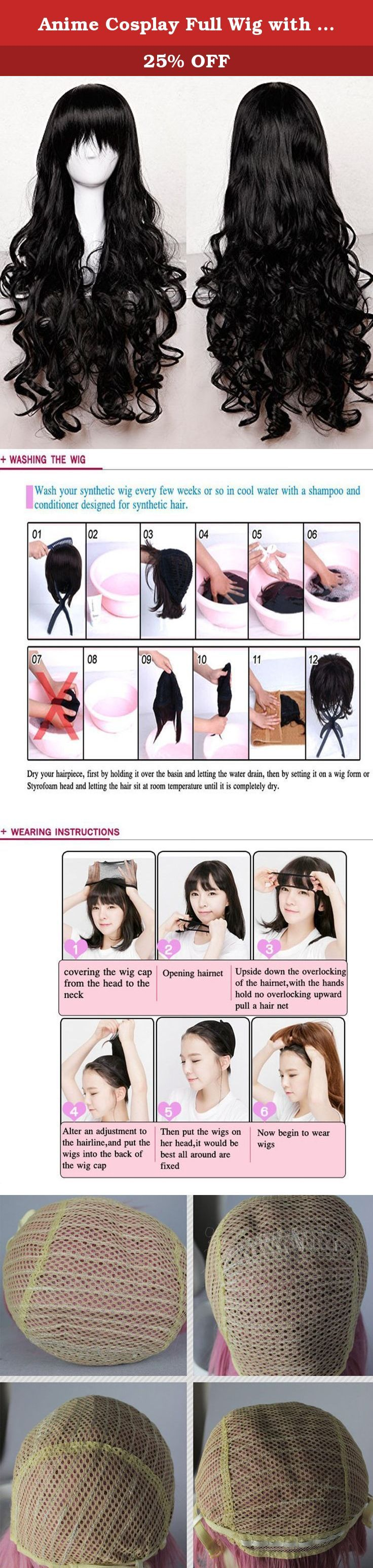 Anime Cosplay Full Wig with Bangs 24-40inch 13 Colors Japanese Kanekalon Fiber Heat Resistant Synthetic Wig Long Curly Wavy Vogue 32'' / 80cm for Women Girls Lady Fashion. Materials:Imported Kanekalon Fiber from Japan(also known as KK wire) Style:Side Bangs/M Bangs Length:32inch Cap Size: Average Suitable Occasions: Halloween,cosplay,club,concerts,costume,theme parties,bachelorette party,weddings,daily use,dating,conventions,masquerades,prom,evening out,carnival,April Fool's Day and any...