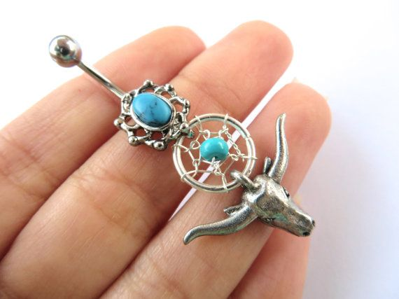 Belly Button Ring Jewelry Navel Piercing Turquoise Longhorn Cow Dream Catcher Bull Skull Long Horn Charm Dangle Belly Ring