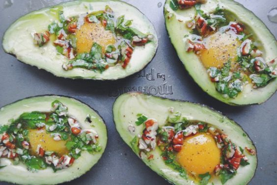Baked Avocado Eggs & Pesto #healthy #lunch #recipe #avocado #egg #pesto #green