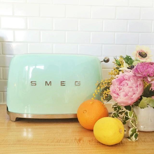 Smeg Toaster 2 Slice Cream Mint Green Kitchentoasterpastel