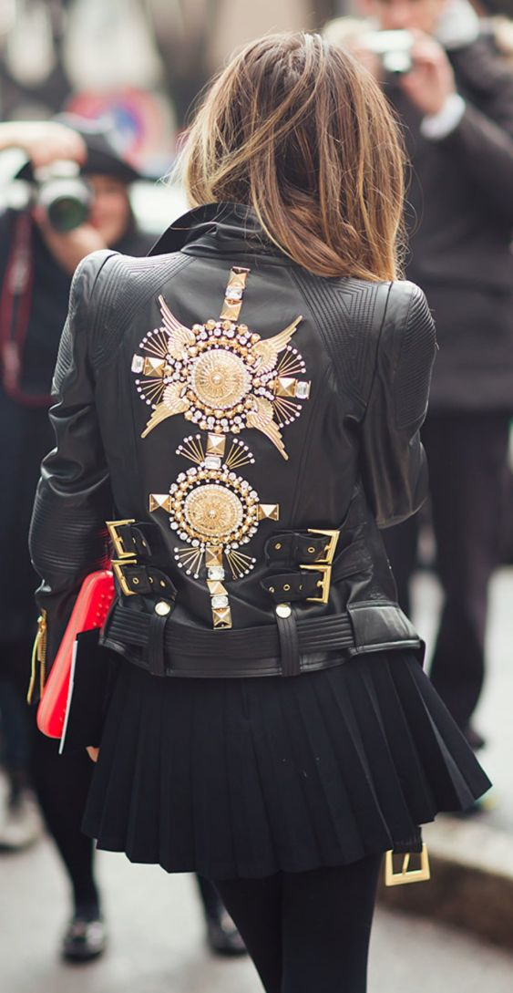 the gold embellishments are a bit much but i am loving the buckles and the belt on this jacket. yowza. I like that!