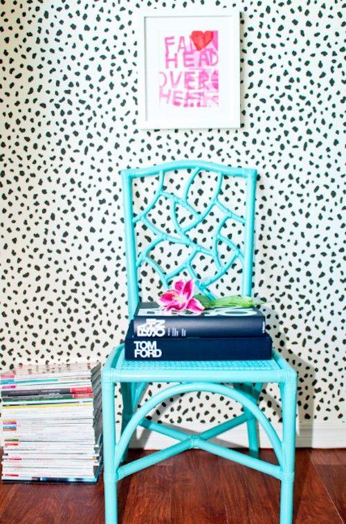 dalmatian print wallpaper teal