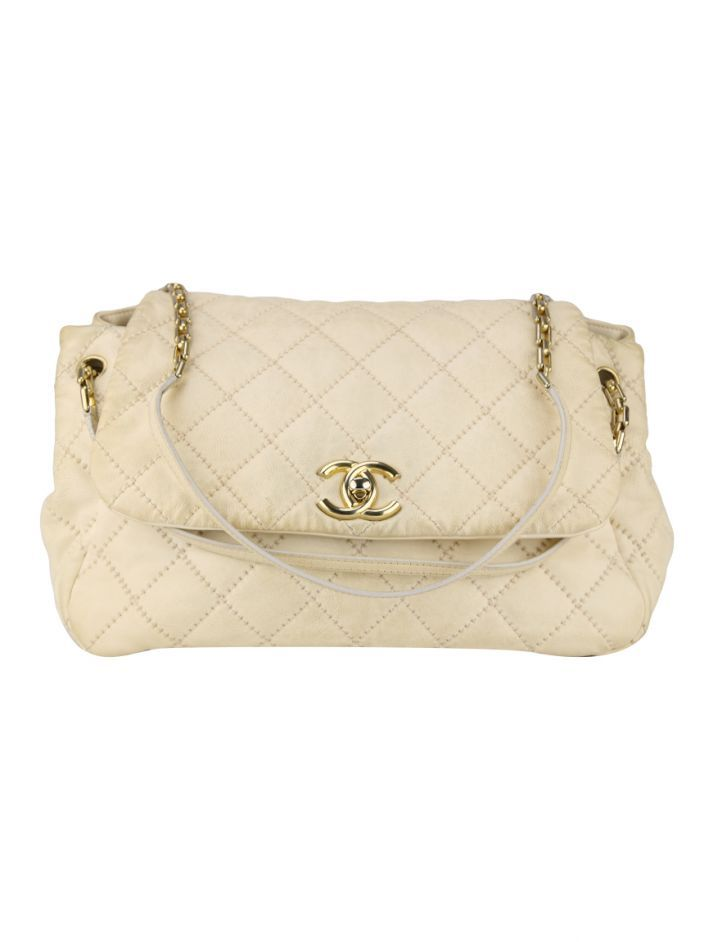d7fe1e7430 Bolsa Chanel Classic Flap Accordion Creme