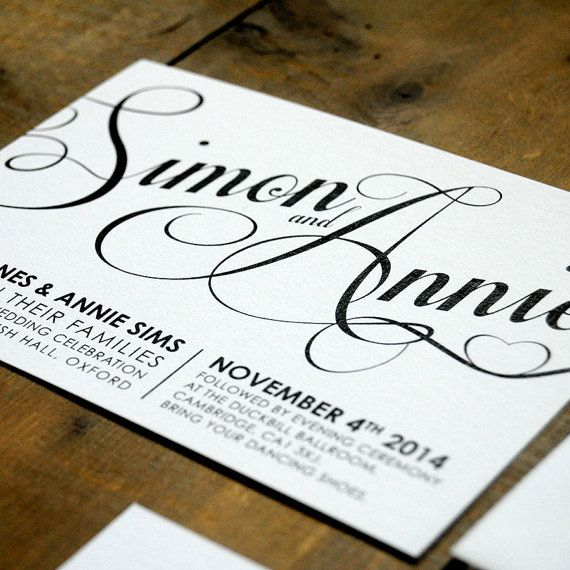 Modern Script Wedding Invitation Suite & Save the Date on luxury textured card (printable option also available) on Etsy, $2.75 CAD