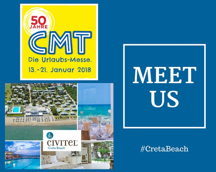 We are attending CMT 2018 - die Urlaubsmesse #cmt18 Meet us and learn more about our passion for significant and genuine #hospitality! #CretaBeach #CivitelHotels #tourism #exhibition #holidays #Stuttgard #travellers #travelling #hotel #tourist #cmt18