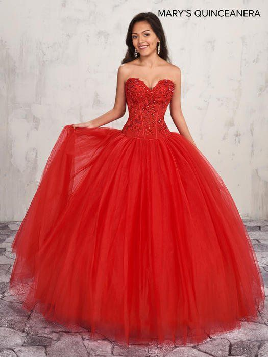 431ec8d2940 Mary s Quinceanera MQ1005 2-piece tulle quinceanera ball gown features  illusion corset bodice with strapless sweetheart neck line