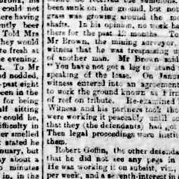 'Castlemaine Warden's Court. John Henry Haollman summoned Richard Harvey and Robert GOFFIN for trespassing on ground held by complainant..' Mount Alexander Mail, 15 Feb 1890, p. 2, 'Castlemaine Wader's Court'.