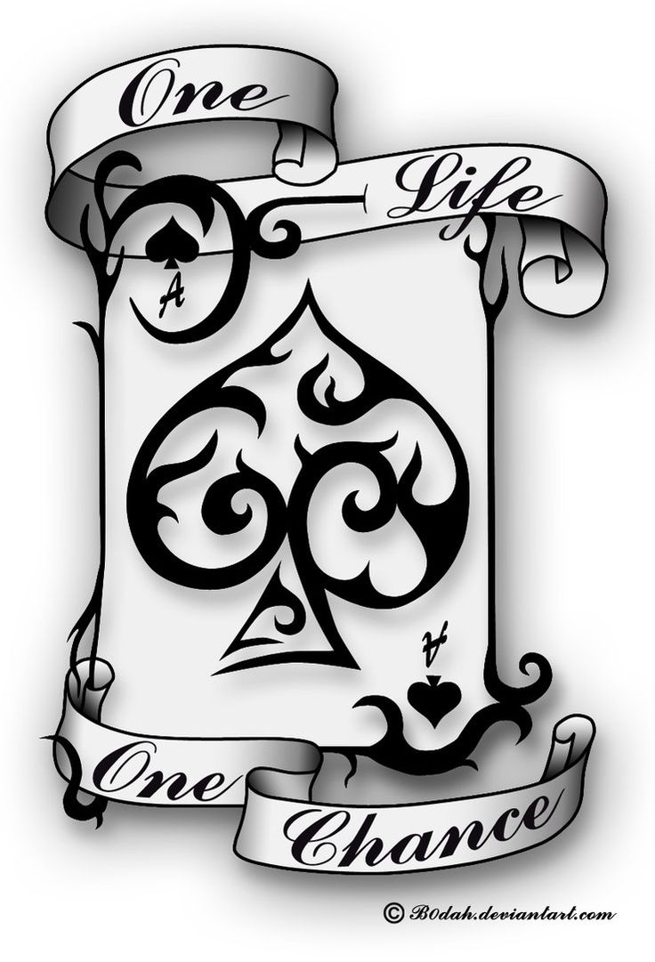 ... Tribal Ace Of Spade With Banner Tattoo Stencil By Deborah Vandevyver