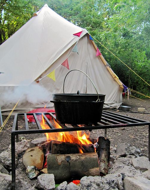 Dutch oven cooking in the perfect setting.