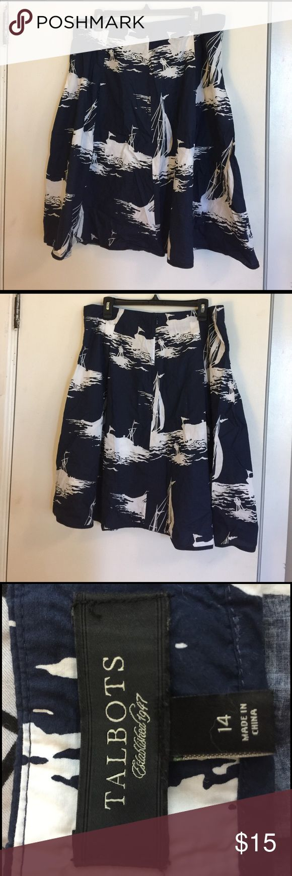 "Talbots Summer Skirt Beautiful nautical skirt from Talbots! Perfect for brunch! Skirt comes to my calfs (I'm 5'3""). Talbots Skirts A-Line or Full"