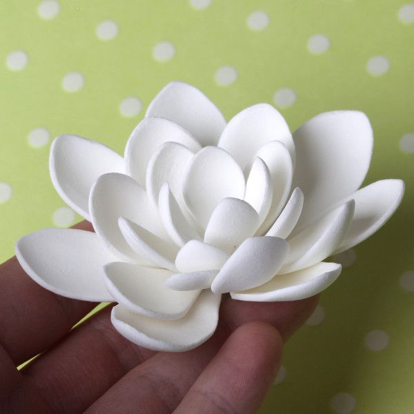 Small White Lotus Flower handmade from gumpaste.  Cake decoration.