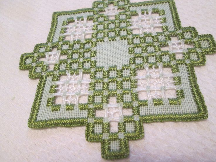 HARDANGER Doily Norwegian Embroidery Cut Work Green - CAD $17.98. A Hardanger doily . Size is 5-1/2 inches. -- Done on 22 ct fabric. --green with green and white stitching Made by me. 142675852569