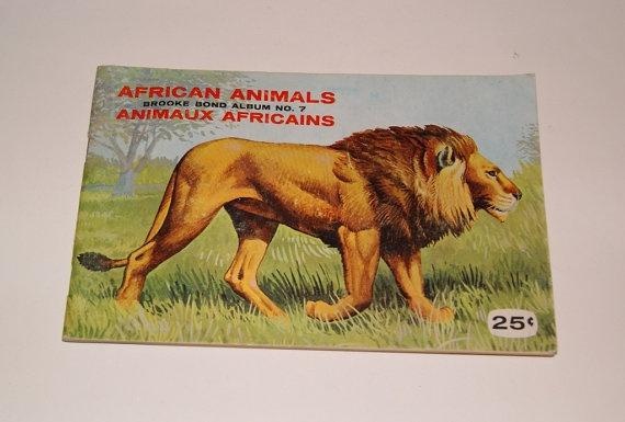 Vintage Brooke Bond Red Rose Tea Cards Album for African Animals series of cards
