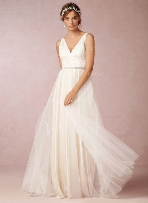 Wedding Dresses - $168.66 - A-Line/Princess V-neck Sweep Train Tulle Wedding Dress With Lace Beading (0025057554)