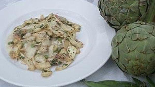 Artichoke, pea and lemon risotto