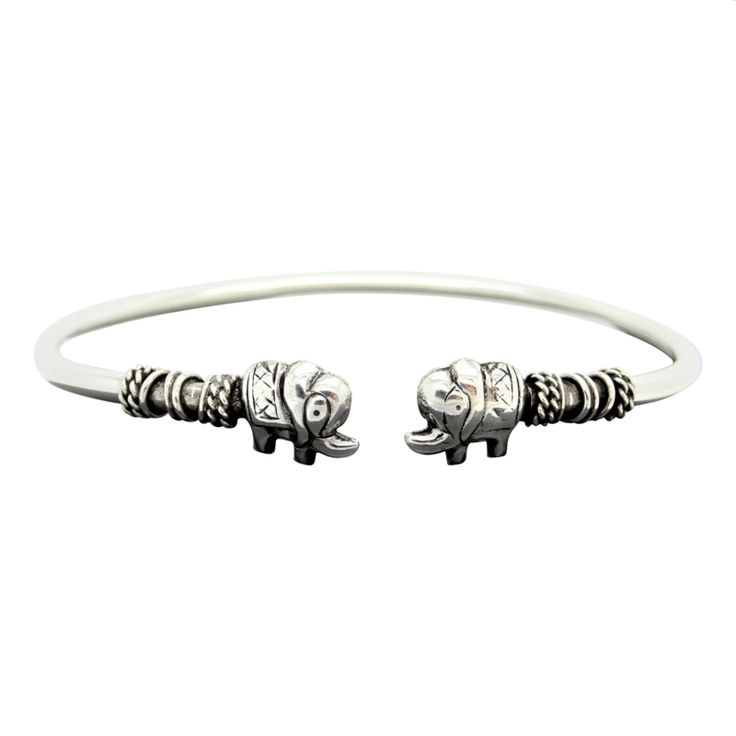 Zilveren verstelbare Bangle Armband Olifant