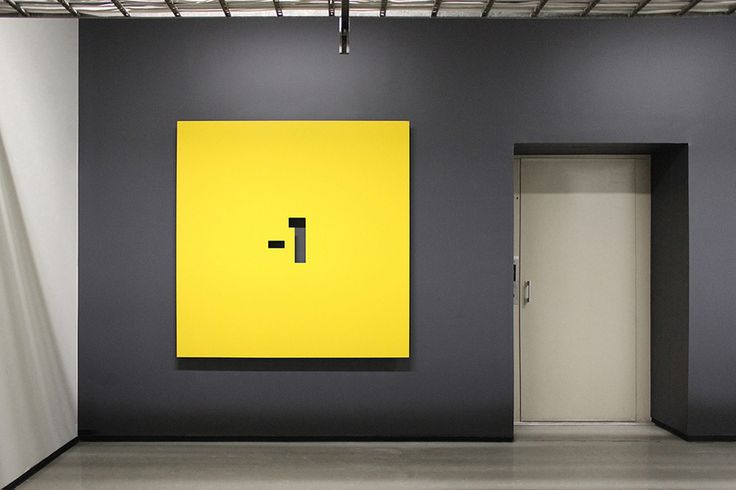 Interior signage designed by Werklig for Helsinki office space Pikseli. #signage #system #design #wayfinding #floor #level #numerical #number #box #square #yellow #minus #one #office #space