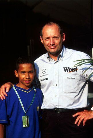 (L to R): Karting star Lewis Hamilton (GBR) and Ron Dennis (GBR) McLaren Team Principal. Formula One World Championship, Rd 12, Belgian Grand Prix, Spa Francorchamps, Belgium, 24 August 1997.