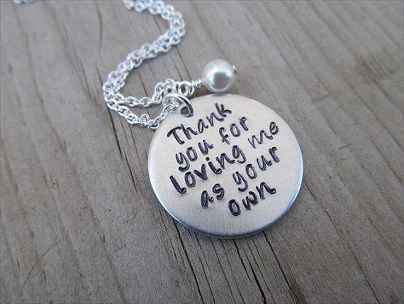 "Stepmom Necklace/Adoptive Mother Necklace, Foster Mom Necklace- ""Thank you for loving me as your own"" with an accent bead of your choice"