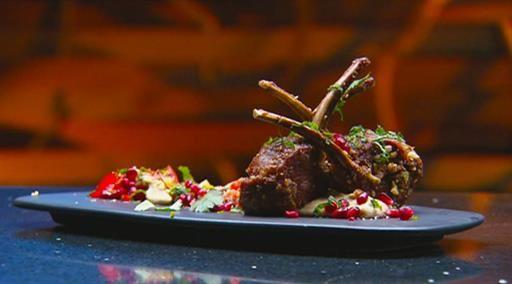 Dukkah lamb cutlets with eggplant dip and salad   MasterChef Australia #MasterChefRecipes