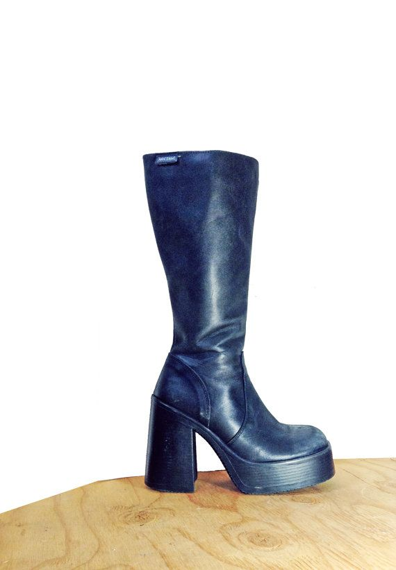Black Leather Chunky Platform Boots 90s Womens Boots by by Idlized