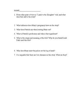 "This worksheet should follow a reading of ""Lamb to the Slaughter"" by Roald Dahl. The story is one intended for adults, and it is very dark. In my experiences, students have really enjoyed it. After reading, they should respond to these comprehension questions about the story."