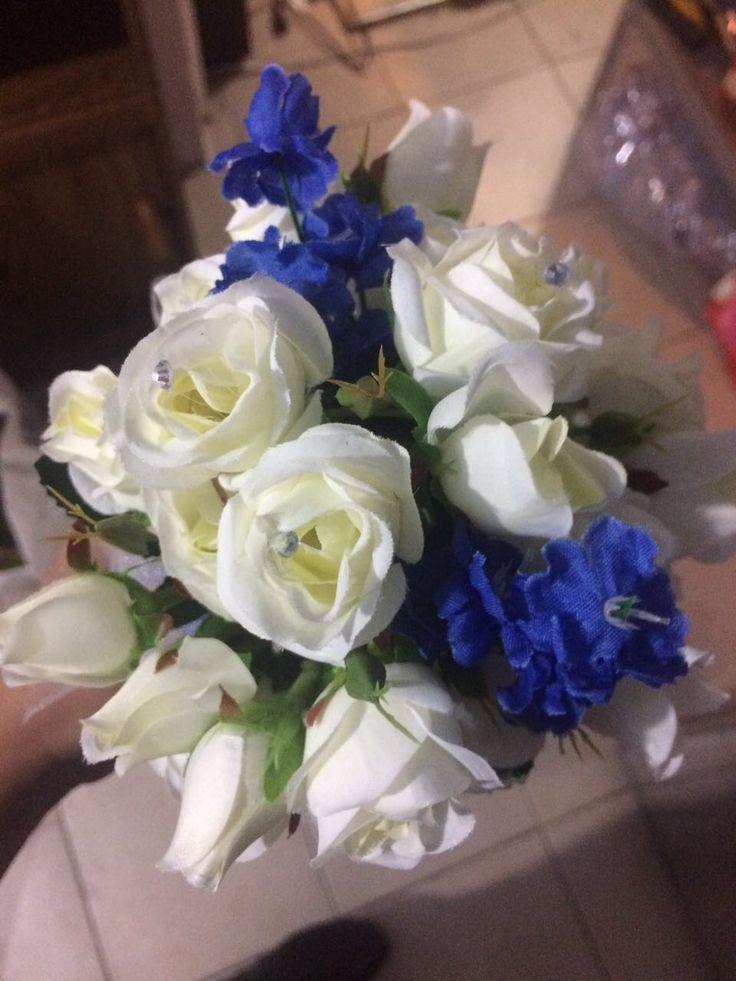 Ramo para Dama #Boda #Azul #DamasdeHonor #Rosas
