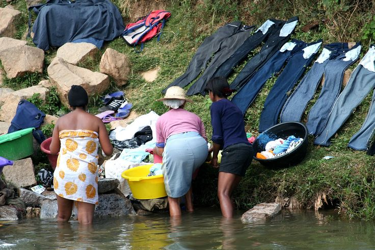 The best place for doing laundry is on the banks of the river