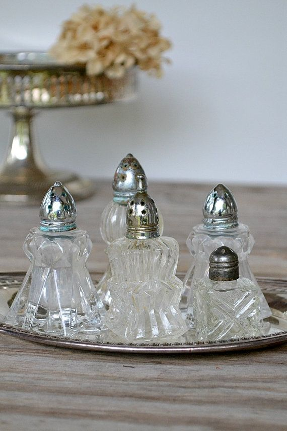 Vintage Salt Shakers w TrayInstant Collection by timewashed
