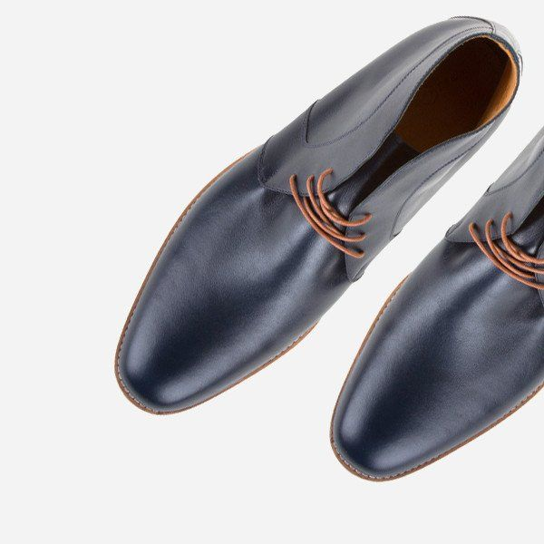 The Vancouver Chukka - navy calf leather chukka boots with natural sole - Poppy Barley