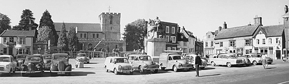 Petersfield market square with the church in the background in past times.
