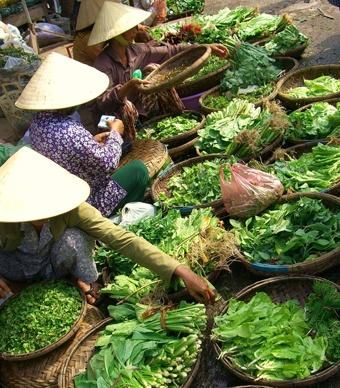"""you are pulling a huge cart of colorful yarn.""""   (Courtesy awc007/myBudgetTravel)            vibrant green vegetables available for sale at a Vietnamese market."""