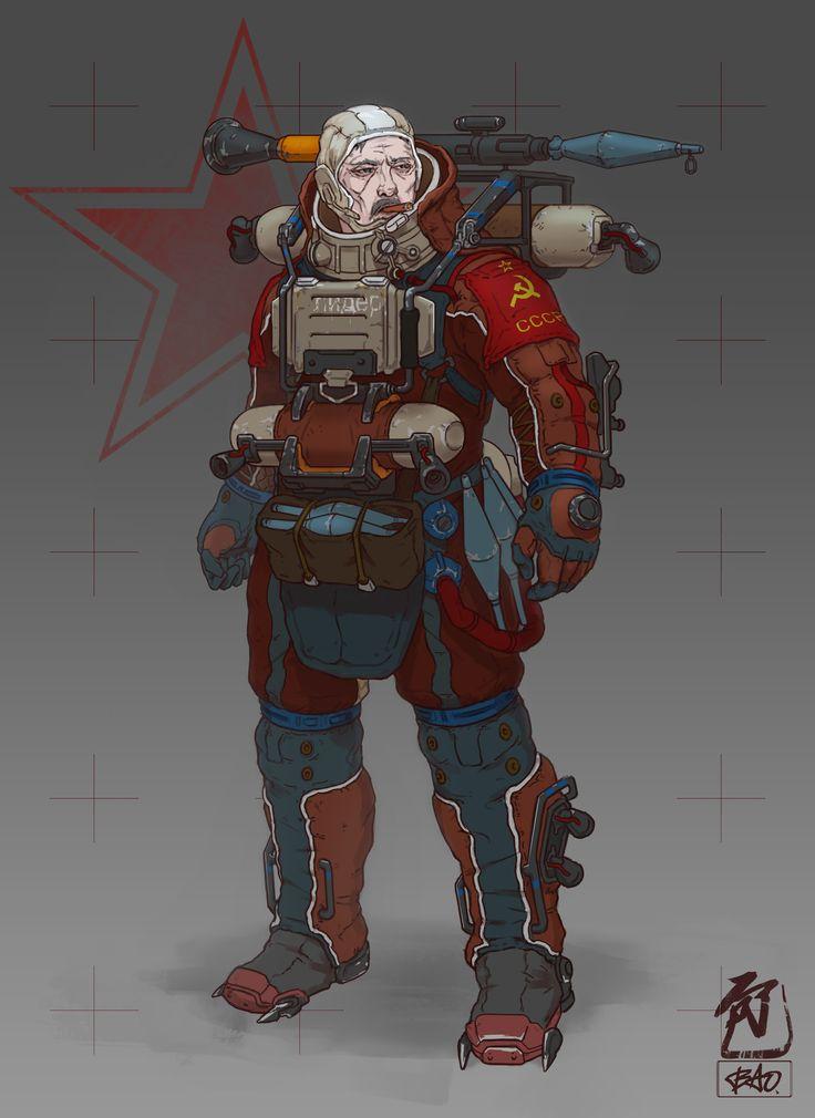 Frontier Red: Commander Sokolov, William Bao on ArtStation at https://www.artstation.com/artwork/3Zmom