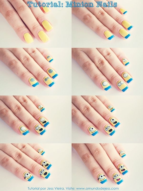 Tutorial Minion Nails #nailart #tutorial #diy