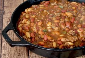Crock-Pot Calico Beans with Bacon and Ground Beef: Calico Beans in a Skillet