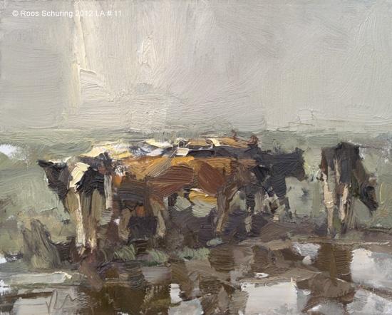 Landscape autumn #11 Grateful - Young cows, 24x30 cm, RoosSchuring.com
