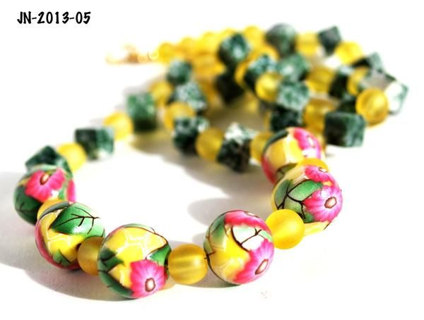 Beaded Fashion Necklace with Yellow Beads, Green Tree Agates and Pink Daisy Handmade Polymer Clay Beads I used lemon yellow polymer clay as my base for these pi