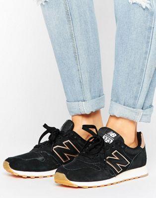 Черные кроссовки с золотисто-розовой отделкой New Balance 373