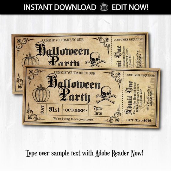 Halloween Invitations, Halloween Ticket Invitations, Halloween Tickets, Halloween Party Invitations - INSTANTLY Downloadable and EDITABLE!!