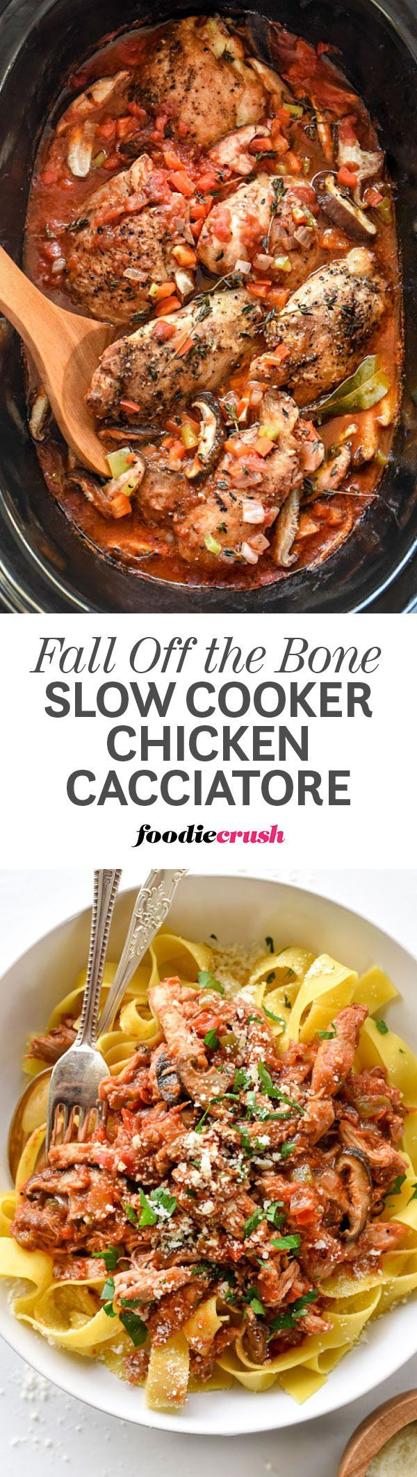 Slow-cooked bone-in, skinless chicken thighs create the luxe flavor in this savory Slow Cooker Chicken Cacciatore dinner that pairs perfectly with pasta for an incredibly easy weeknight or weekend meal | foodiecrush.com #chicken #slowcooker #crockpot #instantpot