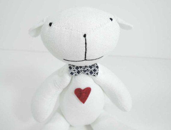 Cotton Teddy Bear / stuffed Bear / vintage Teddy Bears / Artist Bears / Nursery decor / Gift for children / white Teddy bear / soft toy