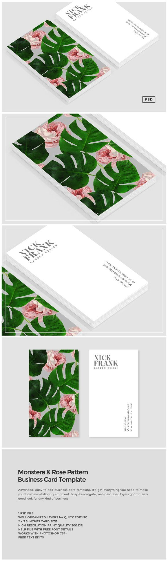 Best 25 free business card maker ideas on pinterest free monstera rose pattern business card by the design label on creativemarket magicingreecefo Images