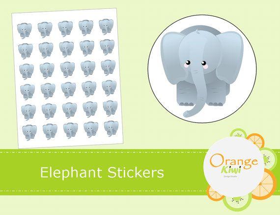 Elephant Stickers  Animal Stickers by OrangeKiwiDesign on Etsy
