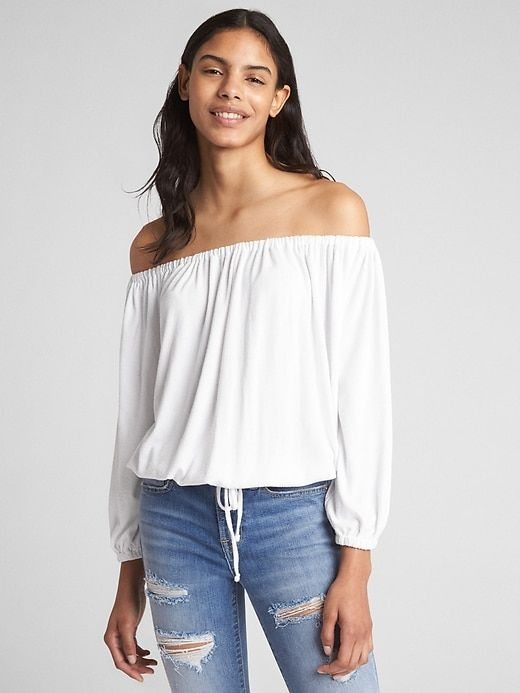 1517ff530e6c4e Gap Womens Softspun Long Sleeve Off-Shoulder Top White | Products in ...