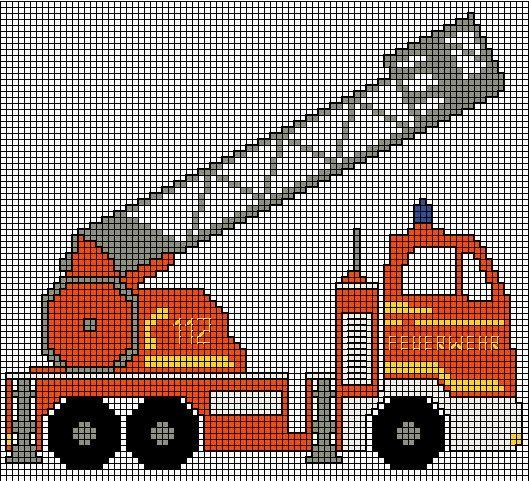 Fire truck x-stitch