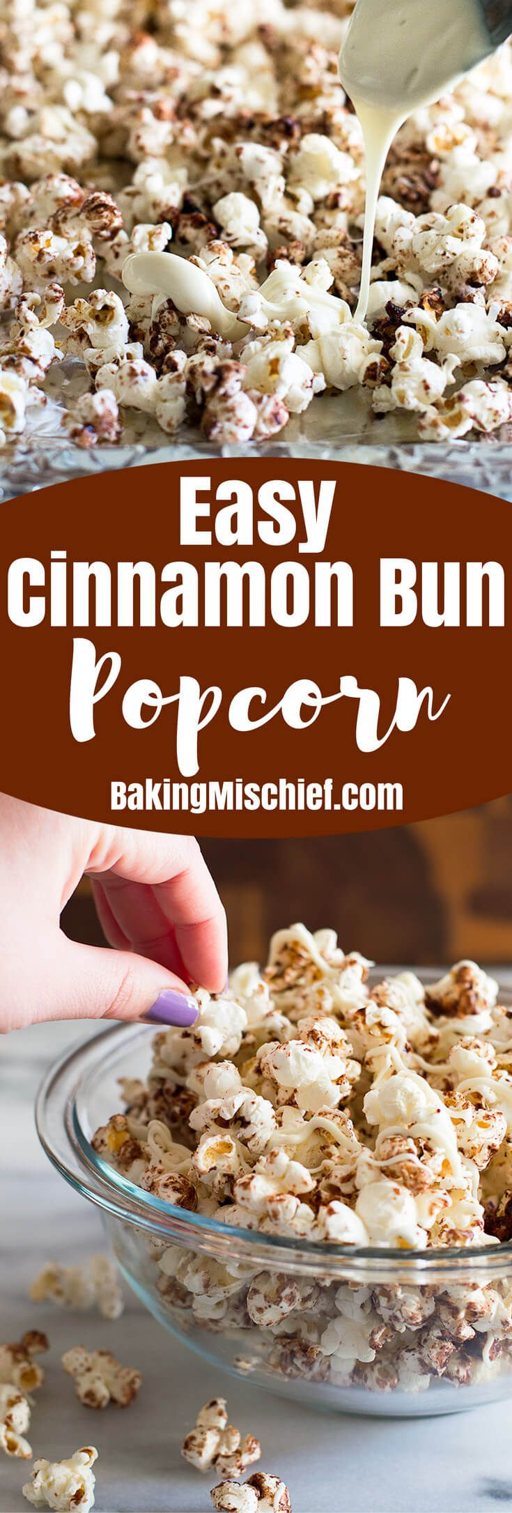 Cinnamon Bun Popcorn with White Chocolate drizzle makes a fabulous easy snack for movie night! From Baking Mischief