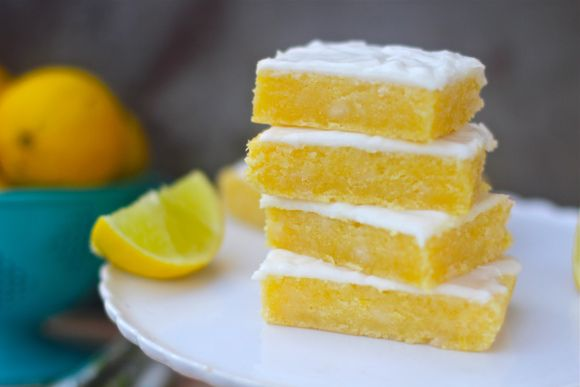 Lemon Brownies with cream cheese frosting