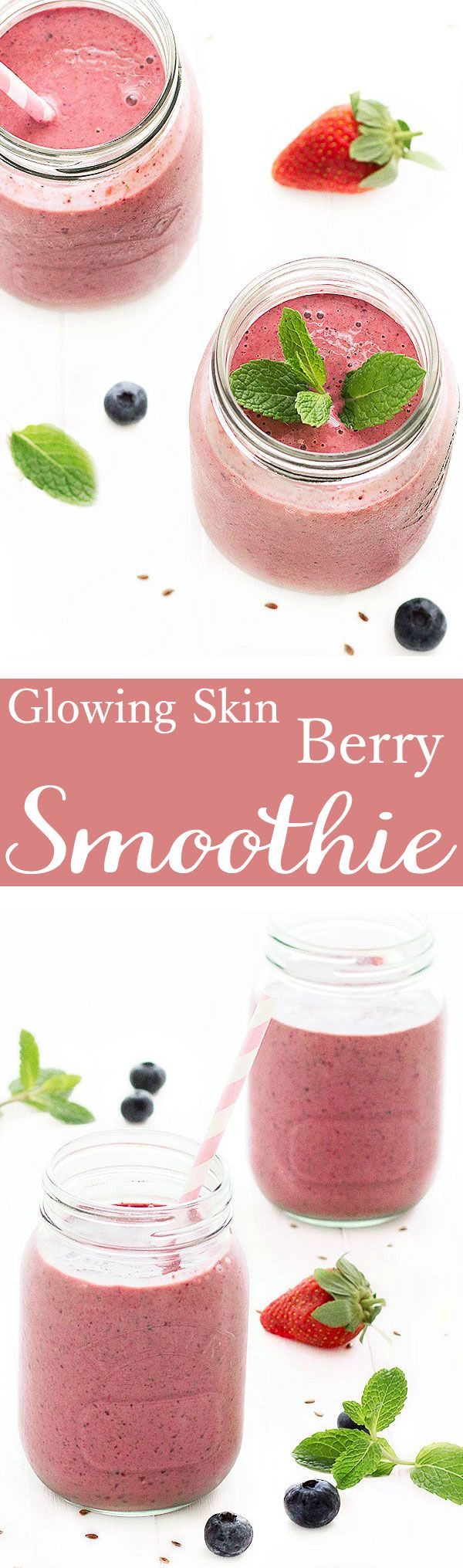 Glowing skin berry smoothie- rich in vitamins and minerals essential for a healthy, radiant skin. I love to have a smoothie for breakfast: it's ready in less than 5 minutes, it's nourishing, healthy and satisfying!