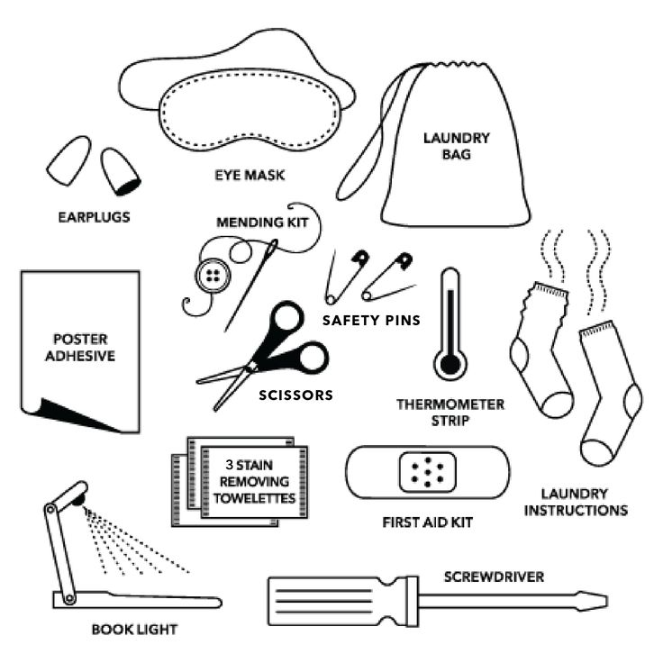 Dorm Survival Kit, $25.00 by @pinchprovisions. Contains 12 must-haves: Book Light, Caffeine Gum, Eye Mask, Earplugs, First Aid Kit, Thermometer, Laundry Bag, Laundry Instructions, Mending Kit, Air Freshener, Screwdriver, and Poster Adhesive